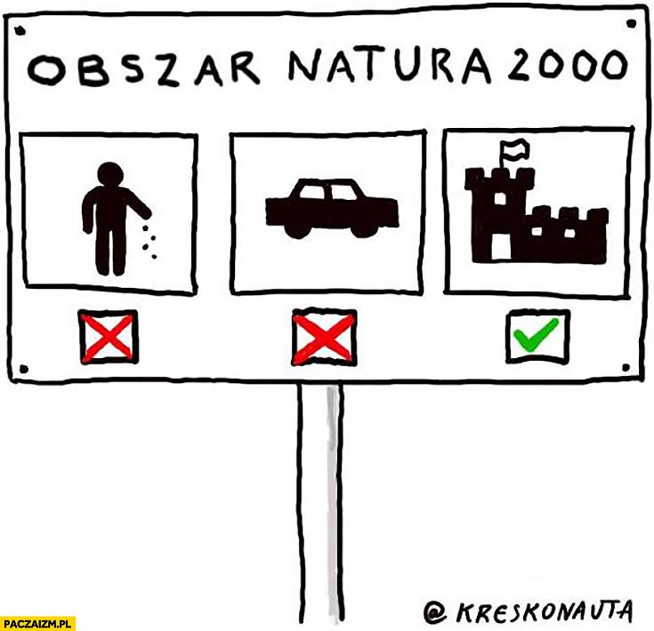 Obszar natura 2000 zakaz śmiecenia, samochodów ale można budować zamki kreskonauta