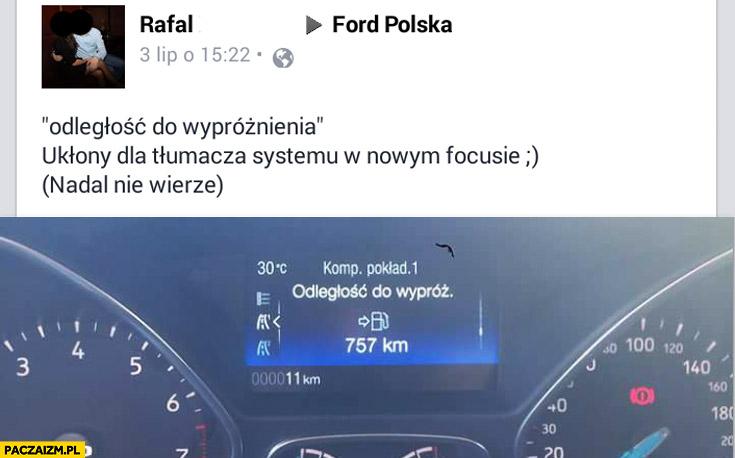 Odległość do wypróżnienia tłumaczenie menu Ford