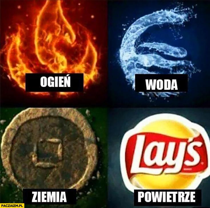 Ogień, woda, ziemia, powietrze, Lays paczka chipsów