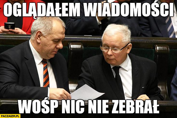 Oglądałem Wiadomości WOŚP nic nie zebrał Kaczyński TVP