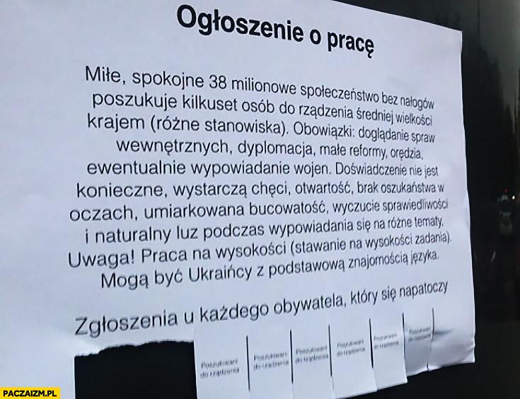 Ogłoszenie o pracę Polska poszukuje osób do rządzenia krajem kartka oferta pracy