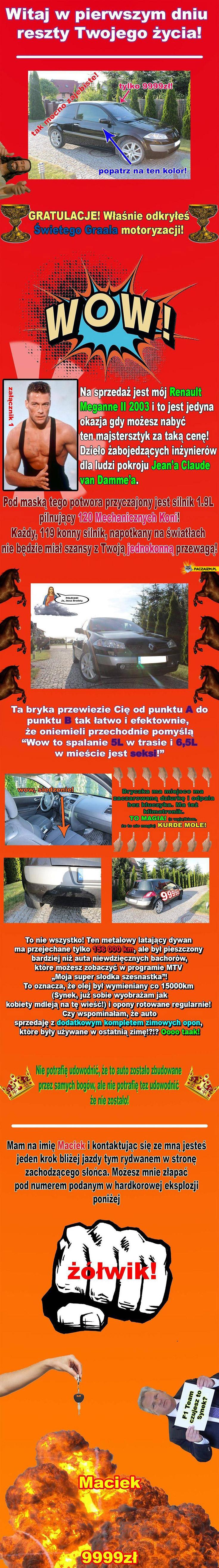 Ogłoszenie sprzedaży Renault Megane Witaj w pierwszym dniu reszty Twojego życia