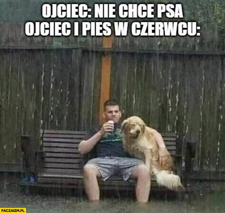 Ojciec: nie chcę psa, ojciec i pies w czerwcu: pada deszcz leje