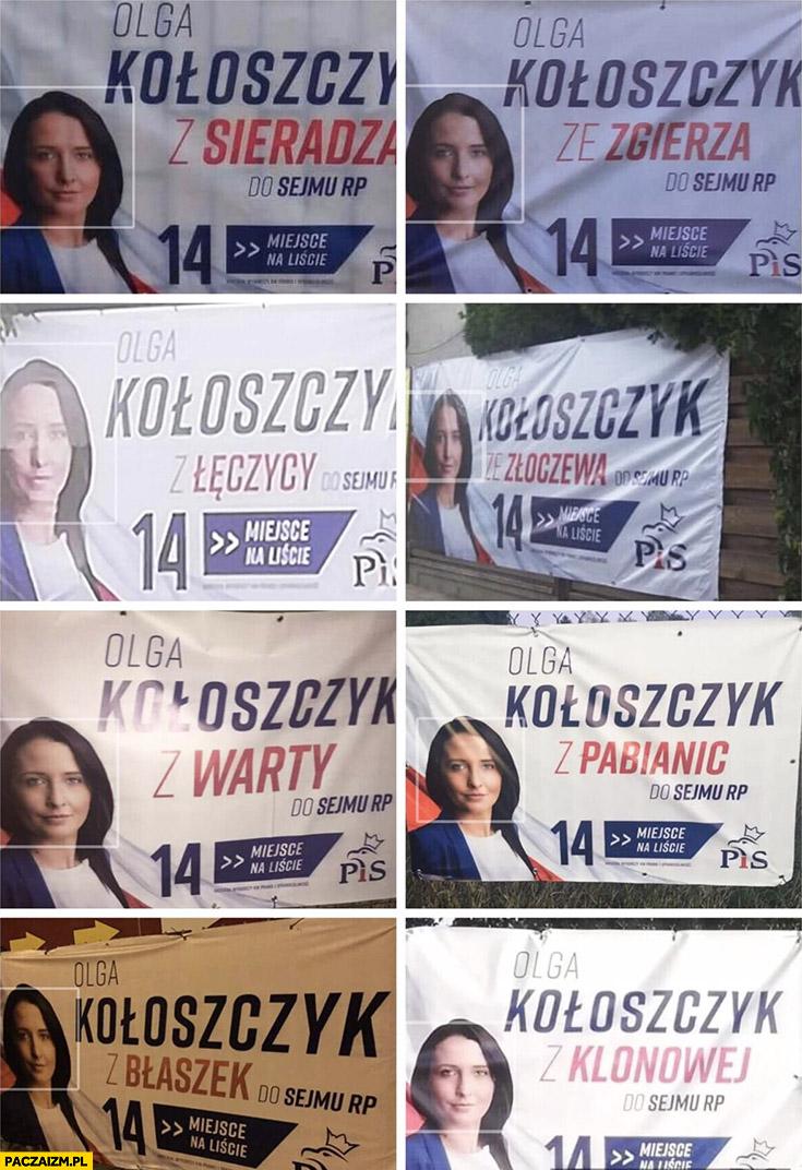 Olga Koloszczyk PiS plakaty wyborcze miejscowości Sieradz Zgierz Łęczyca Pabianice Warta Prawo i Sprawiedliwość