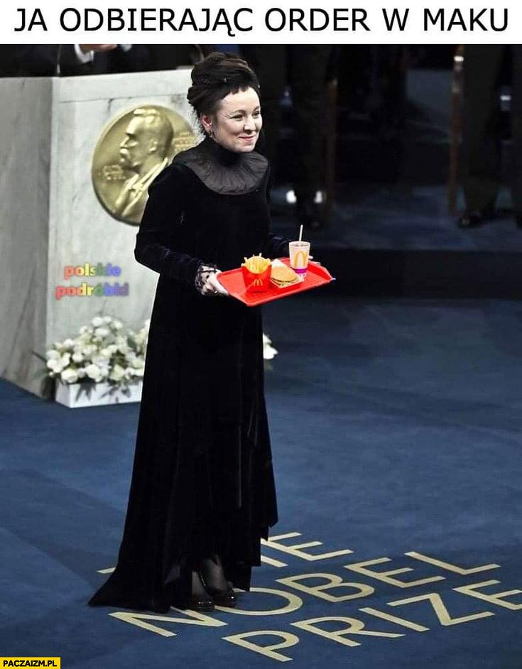 Olga Tokarczuk ja odbierając order w maku nagroda nobla