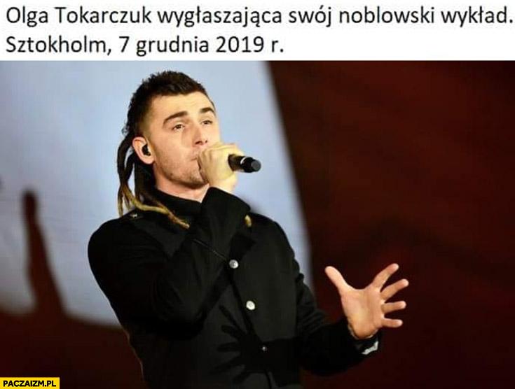 Olga Tokarczuk wygłaszająca swój noblowski wykład Kamil Bednarek