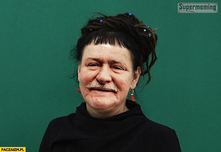 Olga Tokarczuk z twarzą Lecha Wałęsy przeróbka podmiana twarzy face swap