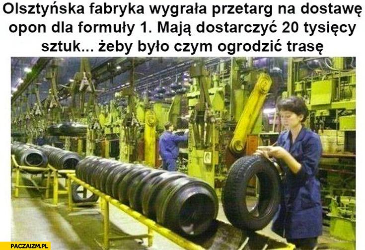 Olsztyńska fabryka wygrała przetarg na dostawę opon formuły 1 żeby było czym ogrodzić trasę