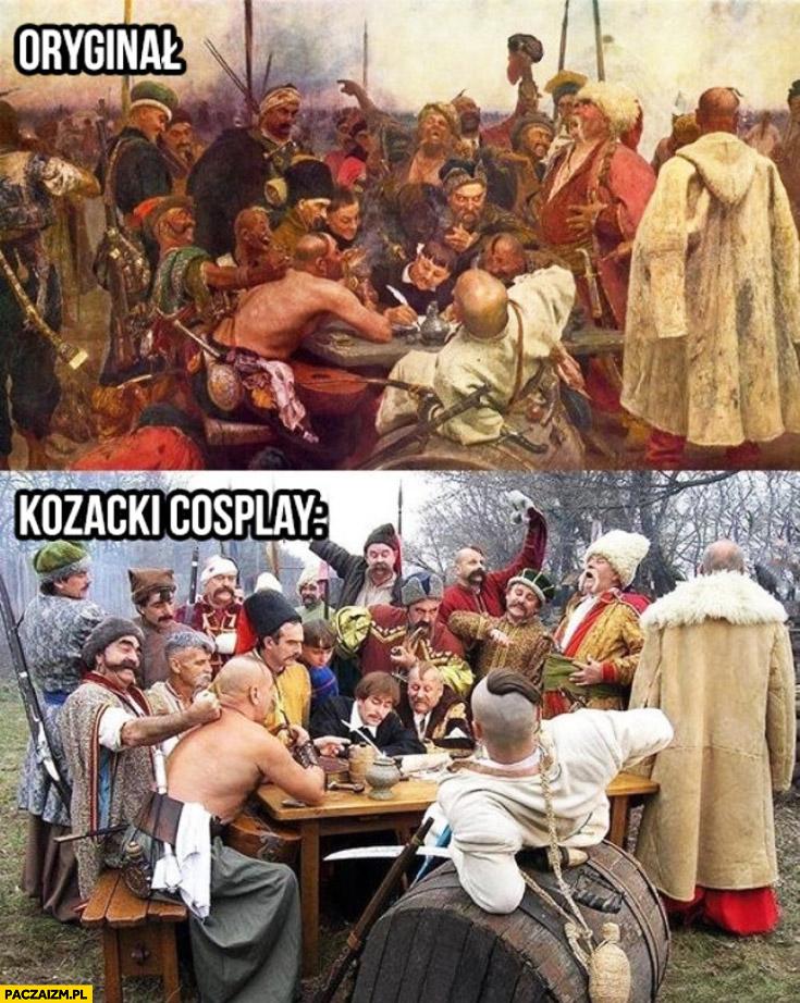 Oryginał, kozacki cosplay. Kozacy zdjęcie uczty biesiady
