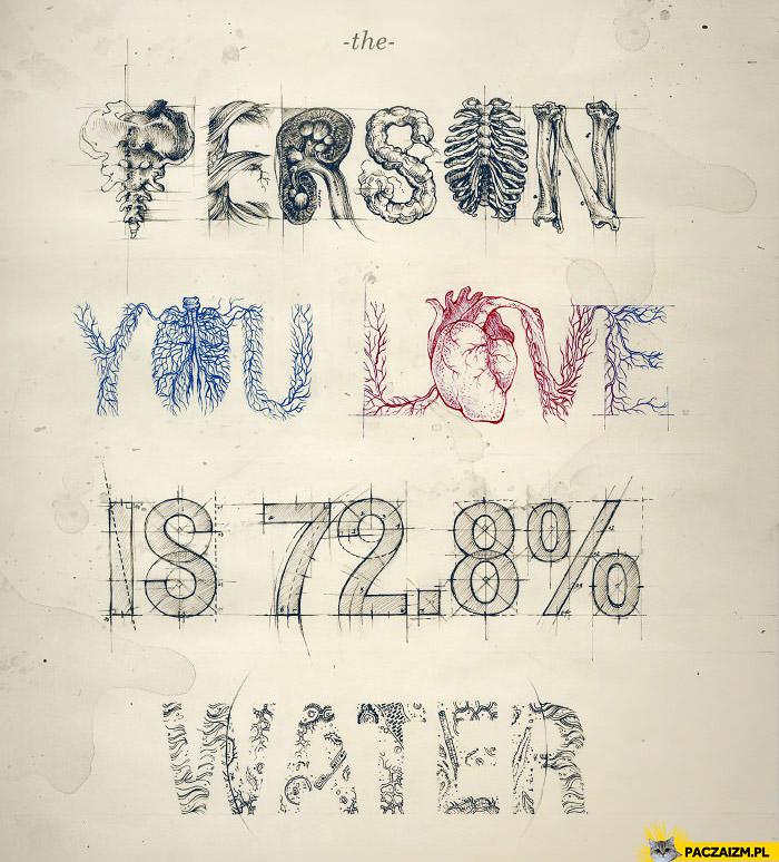 Osoba którą kochasz składa się w 72.8% z wody