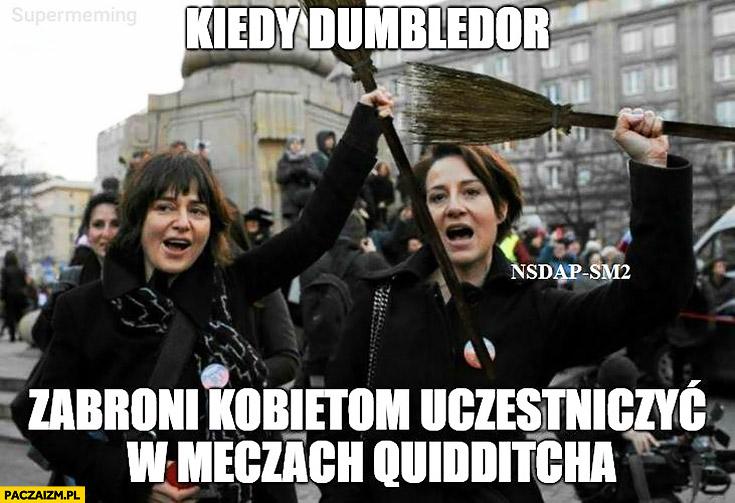 Ostaszewska Szczuka kiedy Dumbledore zabroni kobietom uczestniczyć w meczach Quidditcha protestują z miotłami czarny marsz piątek manifestacja