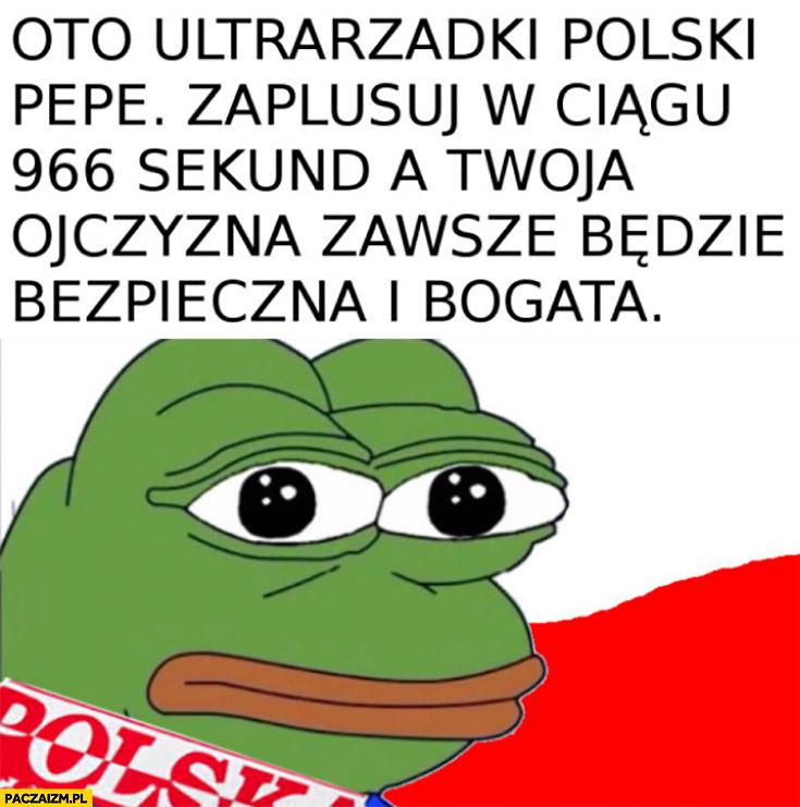 Oto ultrarzadki polski Pepe, zaplusuj w ciągu 966 sekund a Twoja ojczyzna zawsze będzie bezpieczna i bogata