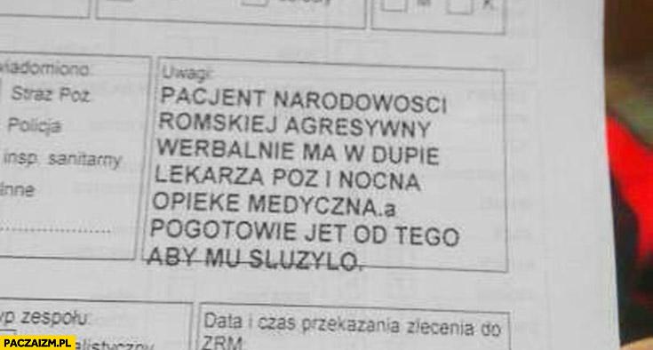 Pacjent narodowości romskiej agresywny werbalnie i ma w dupie lekarza POZ