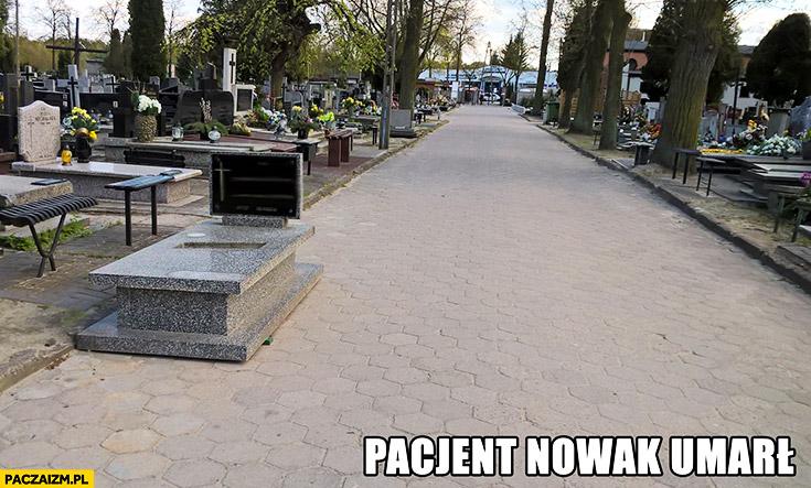 Pacjent Nowak umarł na korytarzu grób na chodniku w przejściu cmentarz