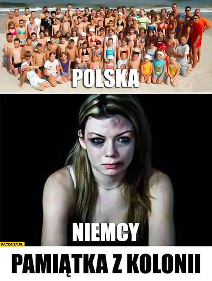Pamiątka z Kolonii – Polska zdjęcie znad morza, Niemcy pobita dziewczyna