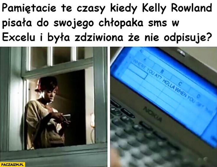 Pamiętacie czasy kiedy Kelly Rowland pisała do swojego chłopaka SMSa w Excelu i była zdziwiona ze nie odpisuje Nelly