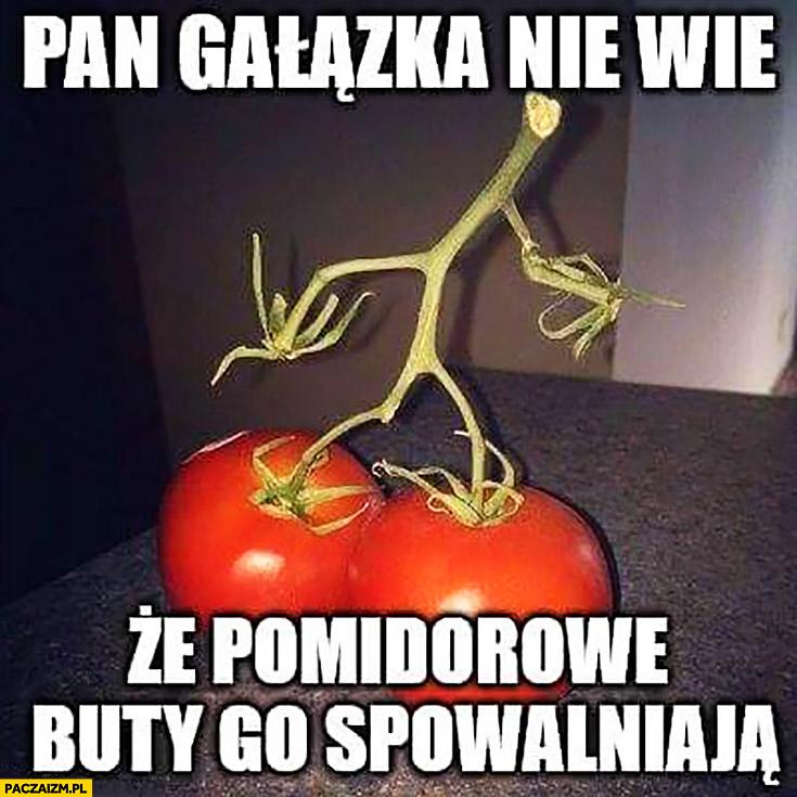 Pan gałązka nie wie, że pomidorowe buty go spowalniają