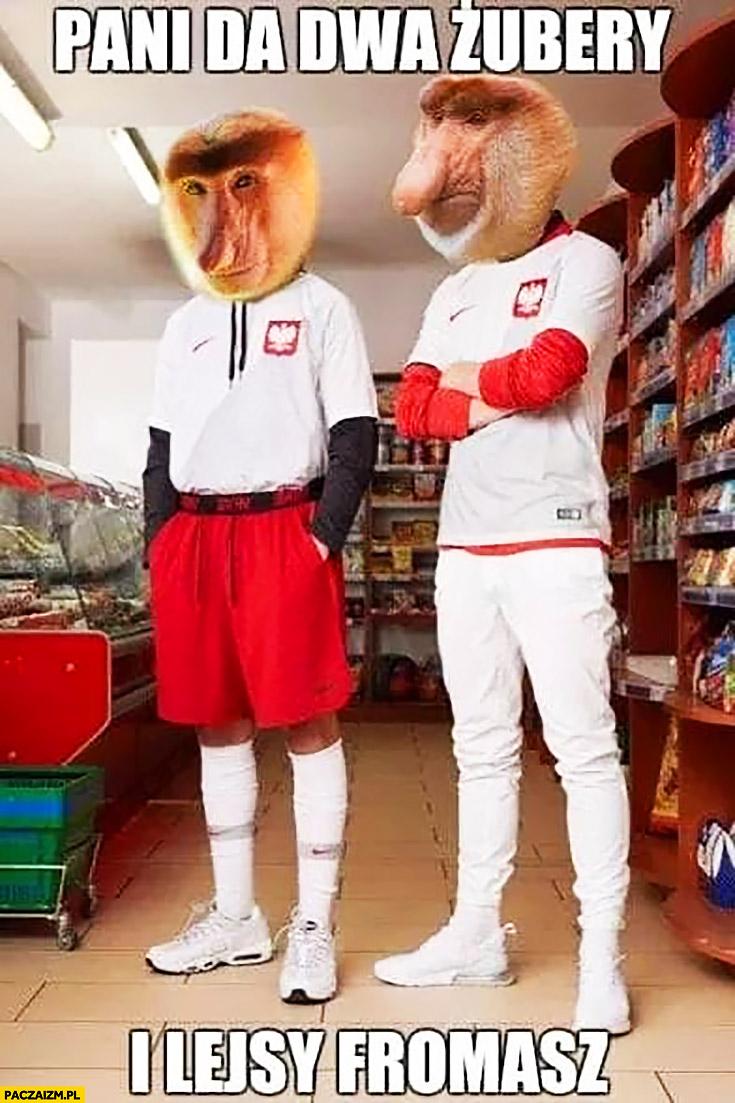 Pani da dwa Żubry i Lays fromage kibice reprezentacji polski typowy Polak nosacz małpa