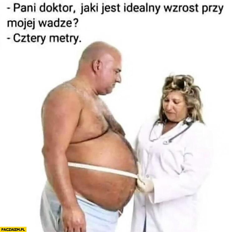 Pani doktor jaki jest idealny wzrost przy mojej wadze? Cztery metry gruby facet