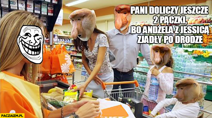Pani doliczy jeszcze 2 pączki bo Andżela z Jessicą zjadły po drodze typowy Polak nosacz na zakupach