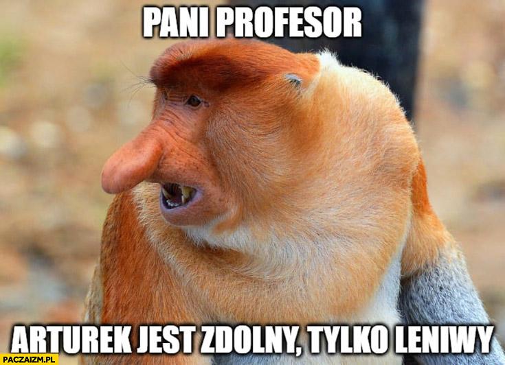 Pani profesor Arturek jest zdolny tylko leniwy typowy Polak nosacz małpa
