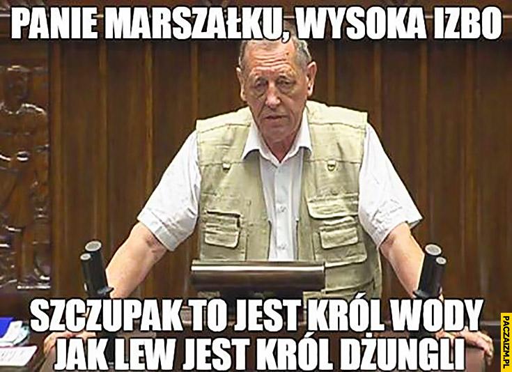 Panie Marszałku, wysoka izbo, szczupak to jest król wody, jak lew jest król dżungli Jan Szyszko w sejmie