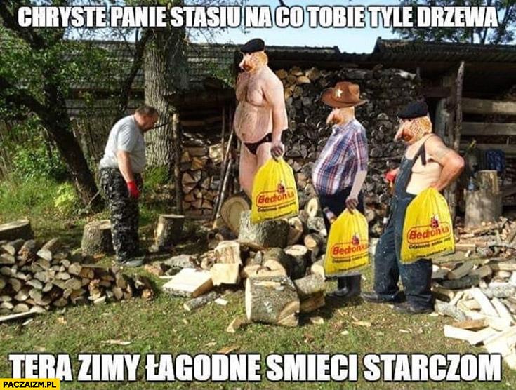 Panie Stasiu na co Tobie tyle drzewa teraz zimy łagodne, śmieci starczą typowy Polak nosacz małpa