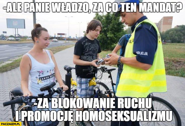 Panie władzo za co ten mandat? Za blokowanie ruchu i promocje homoseksualizmu rowerzyści rower policja