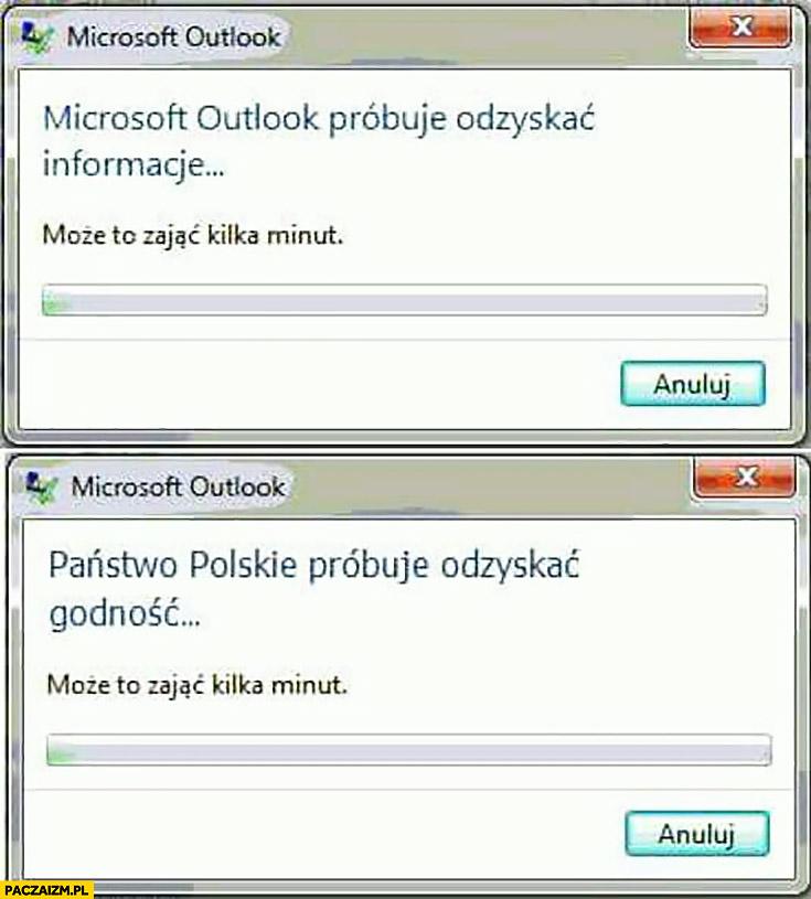 Państwo Polskie próbuje odzyskać godność, może to zająć kilka minut… Microsoft Outlook próbuje odzyskać informacje, może to zająć kilka minut…