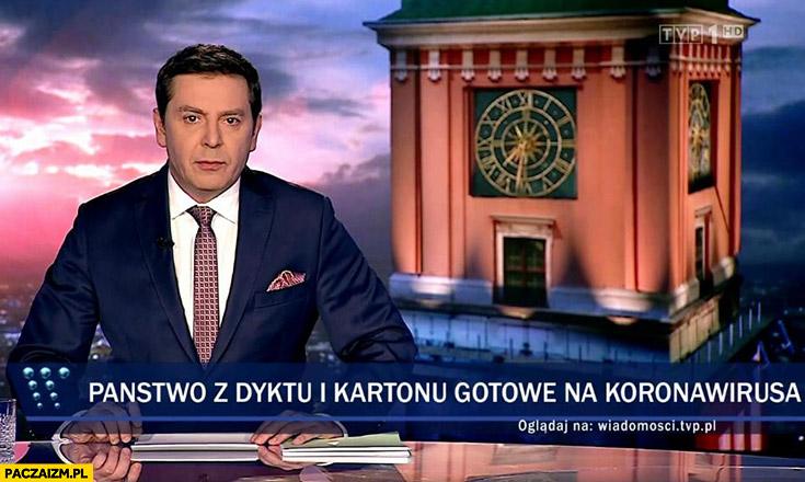 Państwo z dykty i kartonu gotowe na koronowirusa pasek Wiadomości TVP