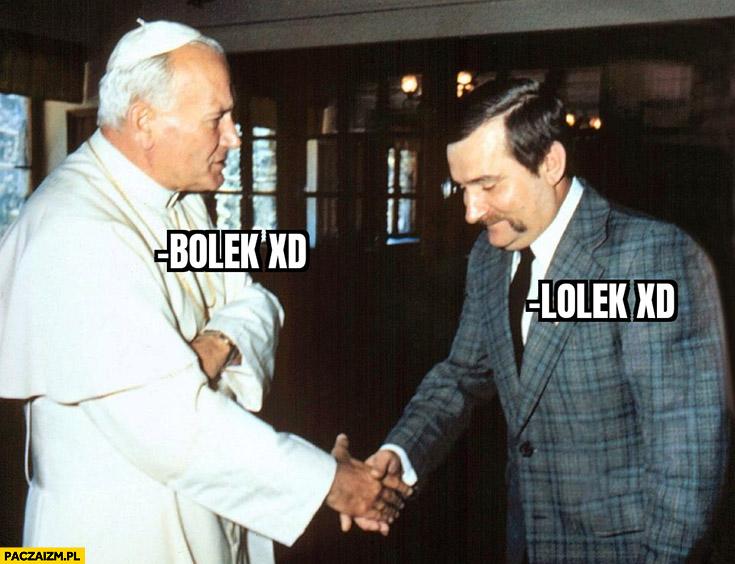 Papież Bolek wałęsa Lolek przywitanie witają się