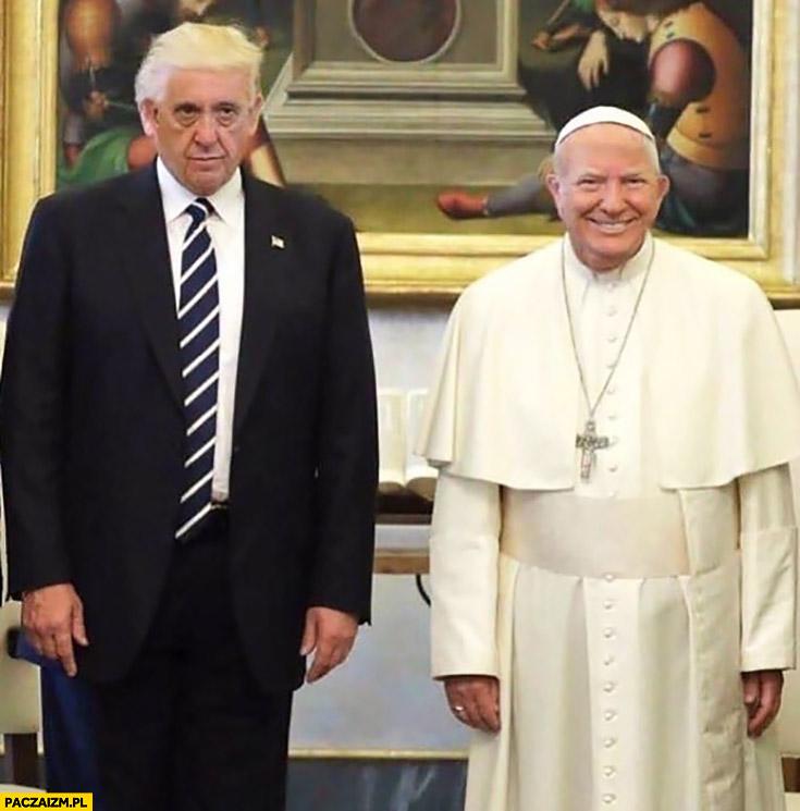 Papież Franciszek Donald Trump zamiana twarzy przeróbka face swap