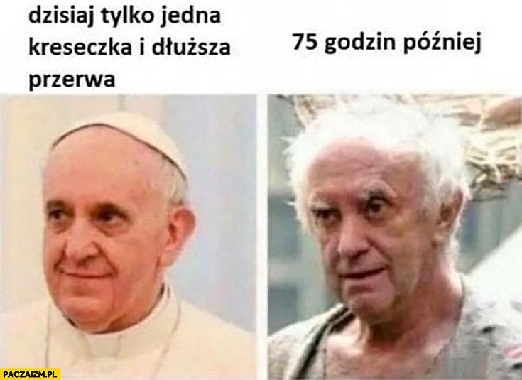 Papież Franciszek dzisiaj tylko jedna kreseczka i dłuższa przerwa, 75 godzin później rozczochrany