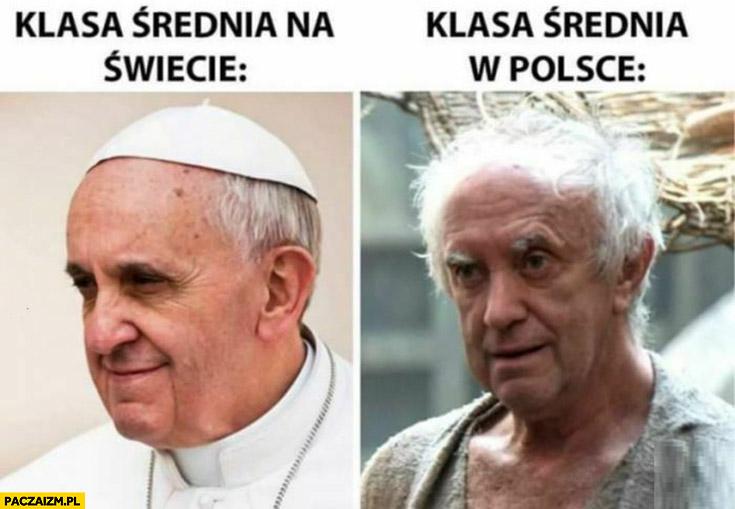 Papież Franciszek klasa średnia na świecie vs klasa średnia w Polsce porównanie