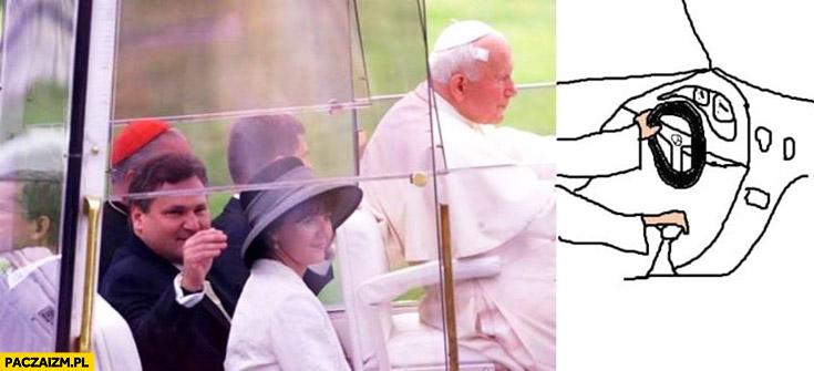 Papież Jan Paweł wiezie pijanego Aleksandra Kwaśniewskiego papamobile dorysowane ręce jak kieruje