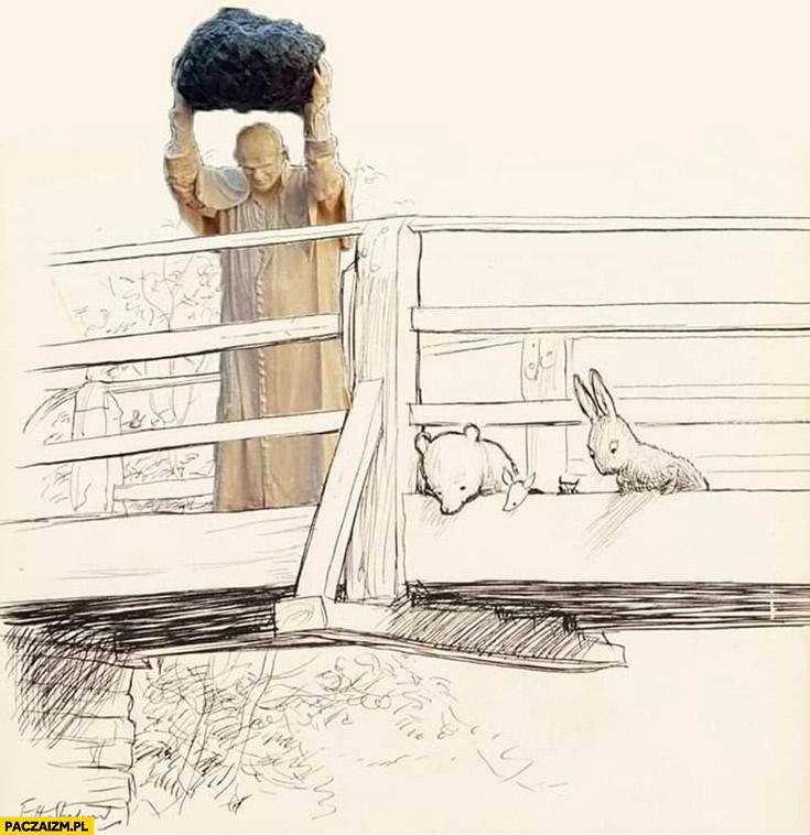 Papież z głazem rzuca z mostu Kubuś Puchatek rysunek