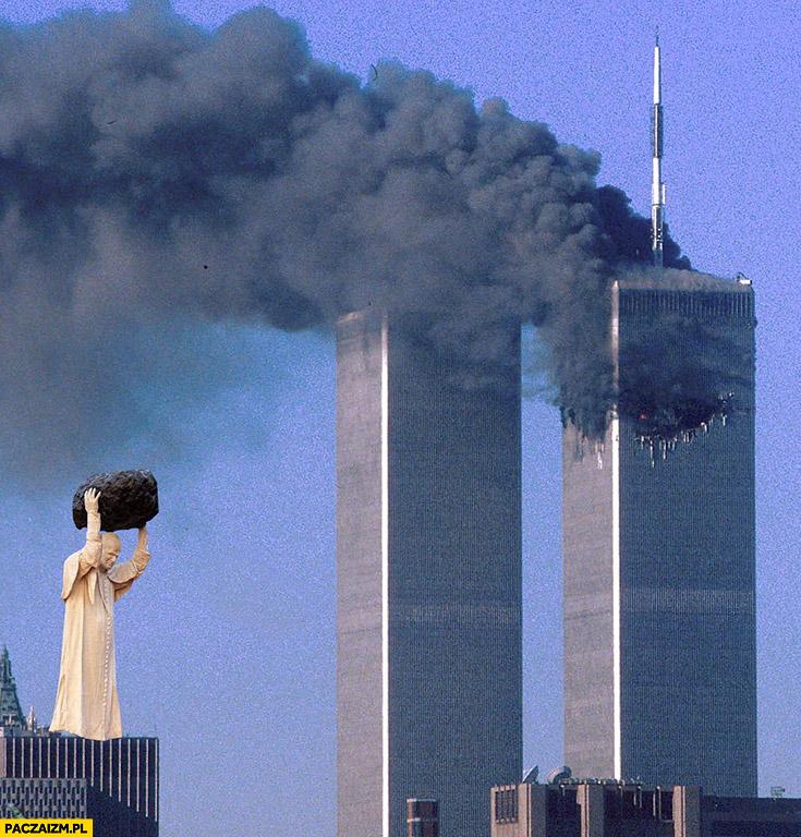 Papież z głazem WTC World Trade Center płonie 11 września