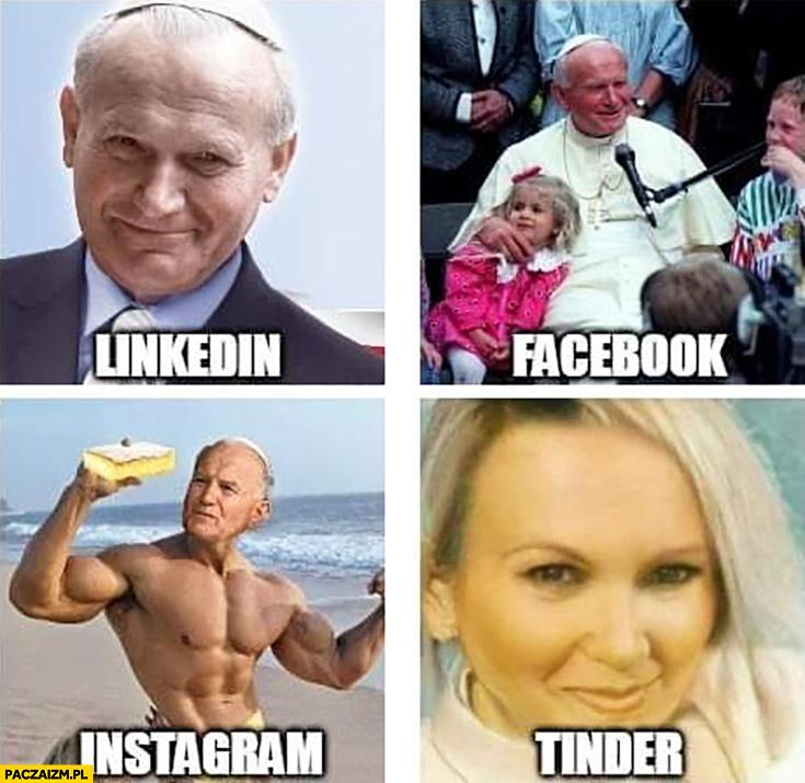 Papież zdjęcie LinkedIn, facebook, instagram, tinder Jan Paweł II