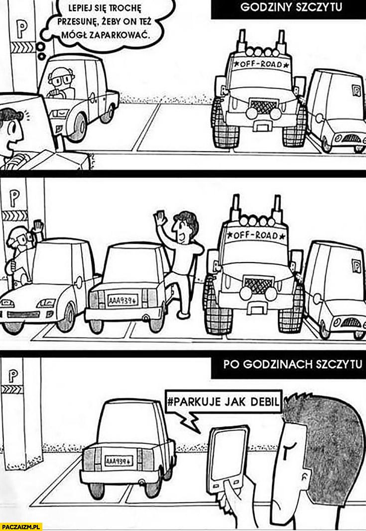 Parkowanie godziny szczytu: przesunę się, żeby też mógł zaparkować, po godzinach szczytu: parkuje jak debil komiks