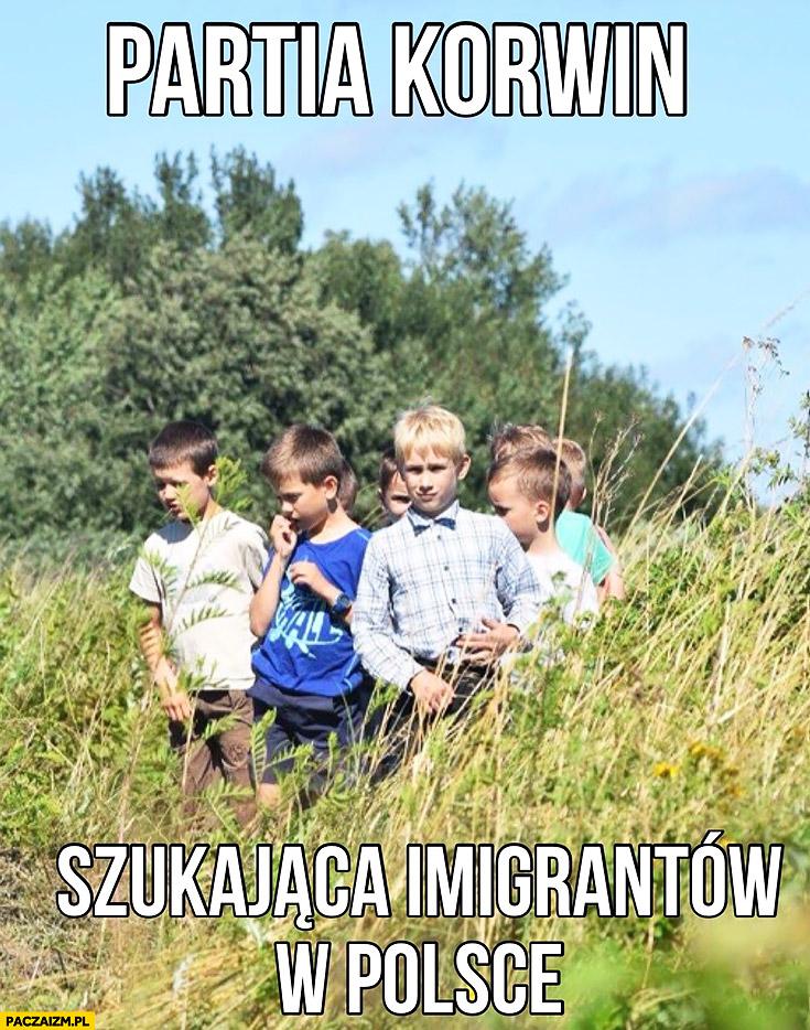 Partia Korwin szukająca imigrantów w Polsce dzieci w polu na łące