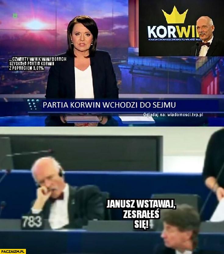 Partia Korwin wchodzi do sejmu, Janusz wstawaj zesrałeś się Wiadomości TVP