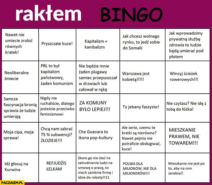 Partia Razem bingo typowe cytaty zwroty rakłem