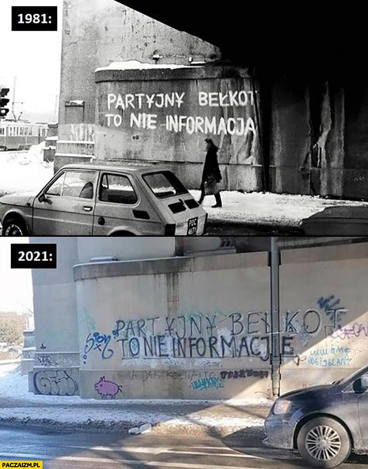 Partyjny bełkot to nie informacja napis na murze 1981 w 2021 odmalowany w tym samym miejscu