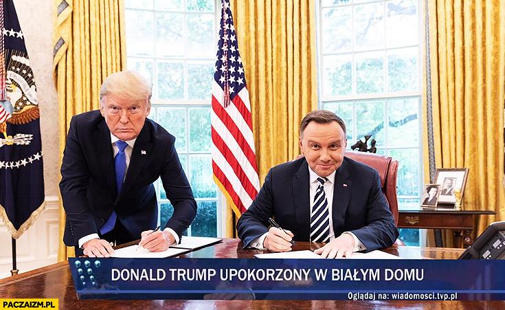 Pasek Wiadomości TVP Donald Trump upokorzony w Białym Domu zamiana twarzy przeróbka