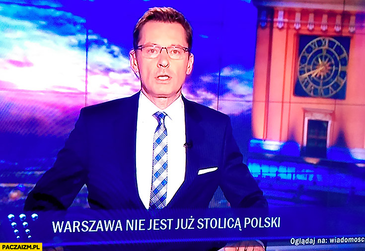 Pasek wiadomości TVP po wyborach Warszawa nie jest już stolicą Polski Ziemiec