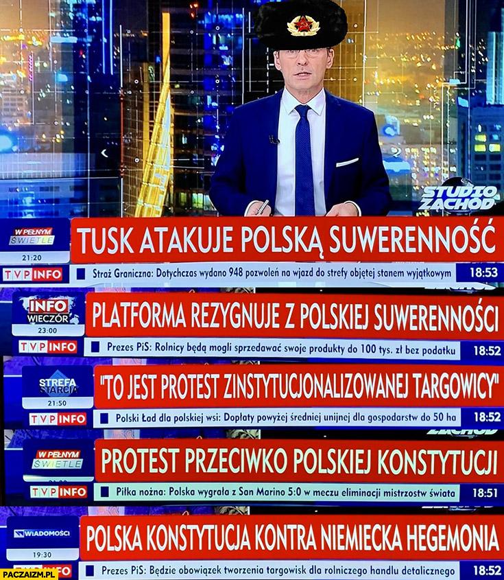 Paski TVP info Tusk atakuje polską suwerenność, protest przeciwko polskiej konstytucji Krzysztof Ziemiec ruska czapka