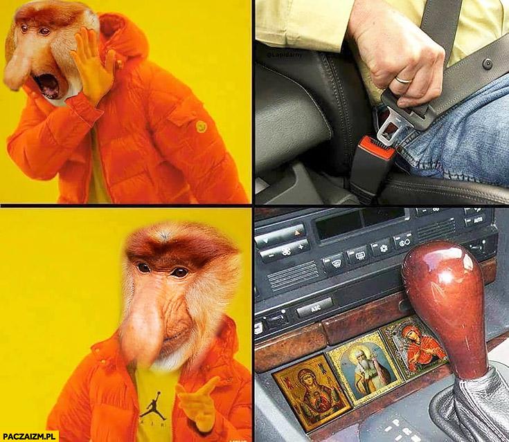 Pasy bezpieczeństwa nie chce, zamiast tego św Krzysztof Maryja patroni typowy Polak nosacz małpa kierowca