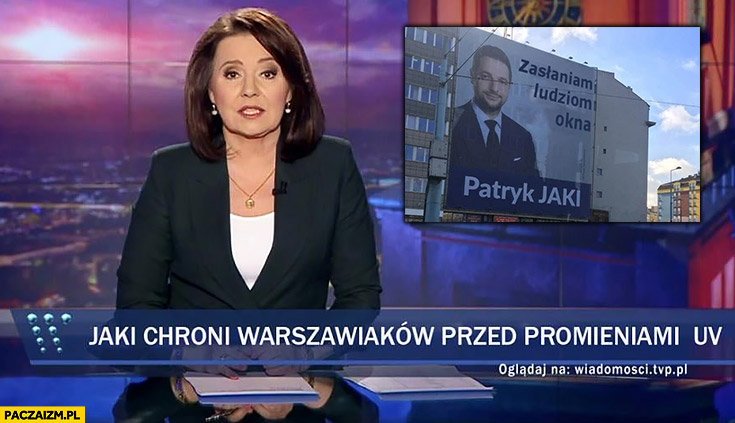 Patryk Jaki chroni Warszawiaków przed promieniami UV pasek wiadomości TVP reklama zasłaniająca okna