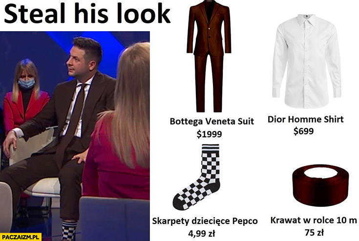 Patryk Jaki steal his look skarpety dziecięce Pepco w kratkę, krawat w rolce 10 metrów