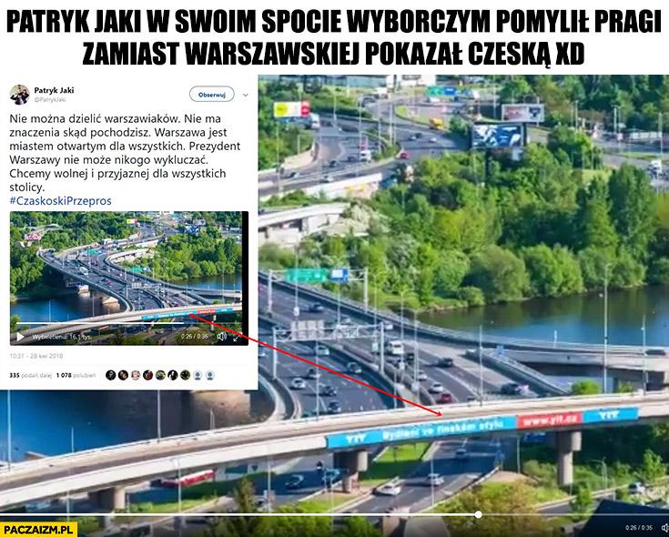 Patryk Jaki w swoim spocie wyborczym pomylił Pragi – zamiast warszawskiej pokazał czeską